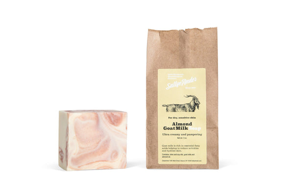 Sallye Ander's Almond Goat Milk Soap is rich in fatty acids to hydrate skin and minimize wrinkles. Its blend of oils is crafted to moisturize dry and sensitive skin. Ingredients: olive oil blend, goat milk and almond oil 5 oz paper bag