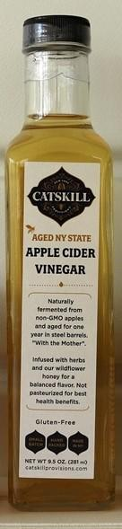 Non-GMO NY State Apples that are fermented and aged for 8 months in steel. Then the remaining  vinegar is blended with wildflower honey and infuse  with an herb blend from renowned spice blenders, La Boite.   No artificial anything; no refined sugar, no corn syrup, gluten free.  Use in salads, marinades, sauces as well as drinks for a perfect acidity balance.  9.5 oz. glass bottle
