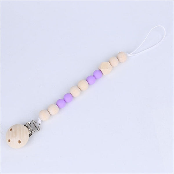 Wood Bead Pacifier Clip