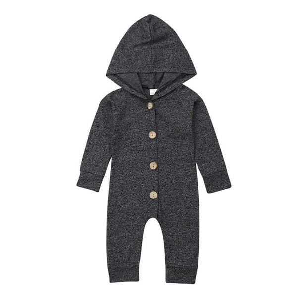 Hooded Jumpsuit with Buttons