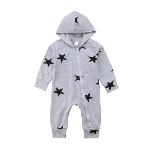 Star Hooded Zip Jumpsuit