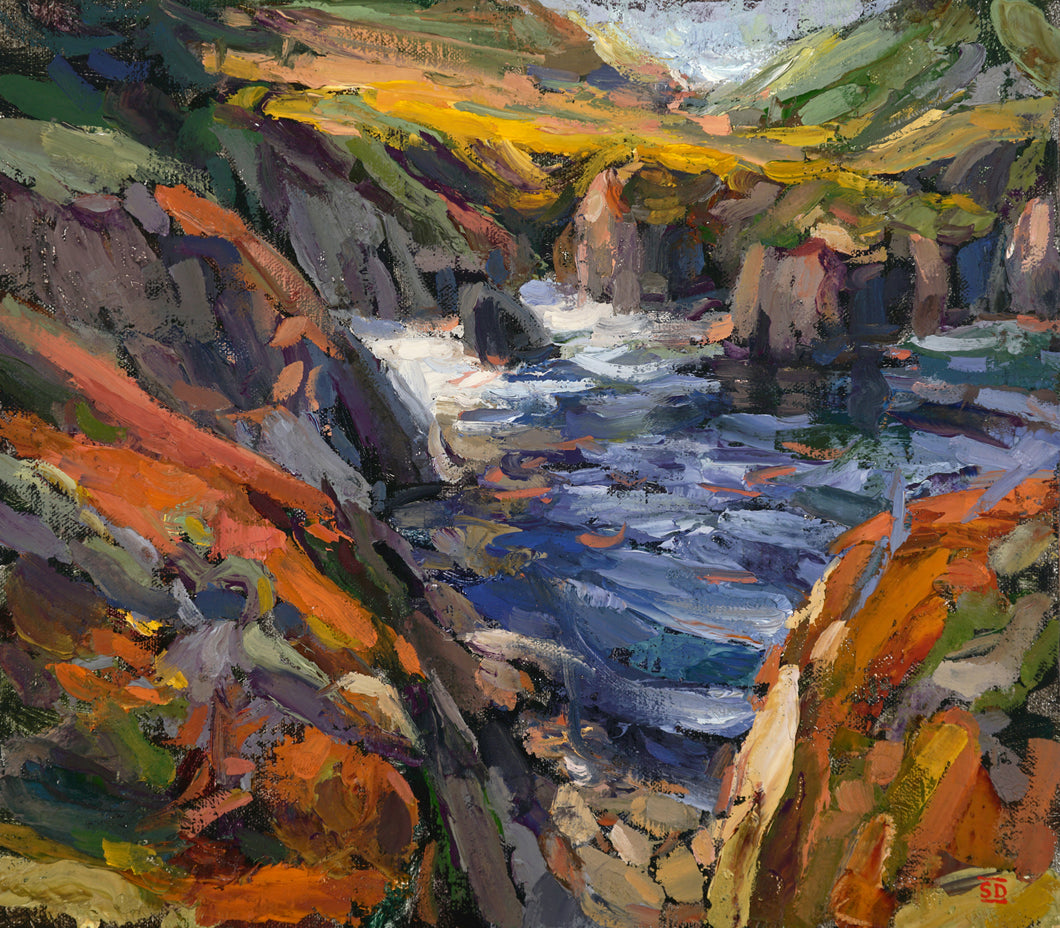 Landscape of Big Sur Coastline with broad sweeping impressionist strokes. Painted by Sean Diediker as part of Canvasing The World TV show.