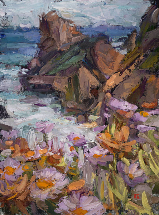 Art of Sean Diediker Big Sur. Impressionist Landscape Original Painting.