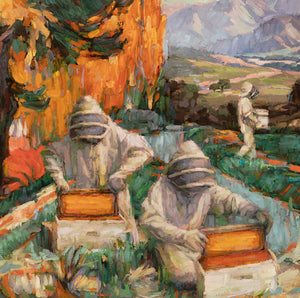 "Contemporary artist Sean Diediker's work ""The Keepers"" oil on canvas original painting inspired by beekeepers in Santa Barbara California America USA"