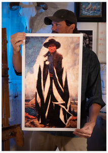 Sean Diediker Artist holding fine art reproduction Medicine Man