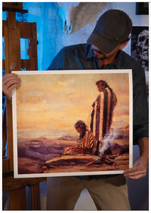 "Utah artist Sean Diediker holds a print of his work ""The Ones Who Wait"" inspired by Ute natives as shown on Canvasing The World season 1 on American Public Television."