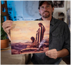 Painter Sean Diediker holds image of The One Who Wait inspired by Utah Canvasing The World television show.