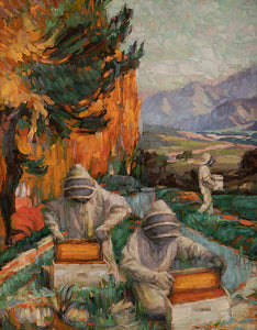 "American artist Sean Diediker's work ""The Keepers"" oil on canvas original painting inspired by beekeepers in Santa Barbara California America USA"