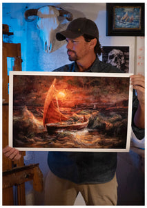 Painter Sean Diediker holds a museum quality print on Cotton Rag of the Art Sherlock, based on the Sydney episode of Canvasing the world with Sean Diediker.