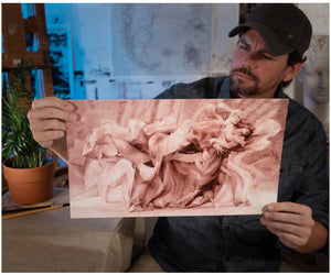 "Painter Sean Diediker holds a print of his artwork ""Tango"" shown in the Buenos Aires Argentina episode of Canvasing The World."