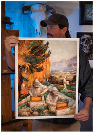 Artist Sean Diediker holding a print of The Keepers, inspired by beekeepers in Santa Barbara California USA. You can buy Sean Diediker prints at CTWgallery.com