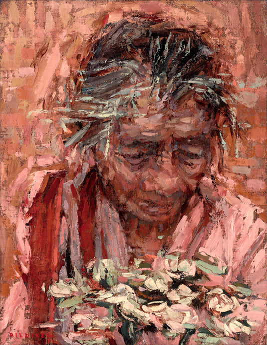 Original oil painting figurative narrative of The Flower Woman in Ubud Bali Indonesia shown in Canvasing The World with Sean Diediker