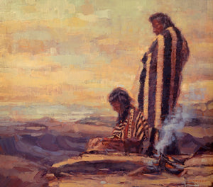 "Utah artist Sean Diediker's original painting ""The Ones Who Wait"" inspired by Ute natives as shown on Canvasing The World season 1 on American Public Television."
