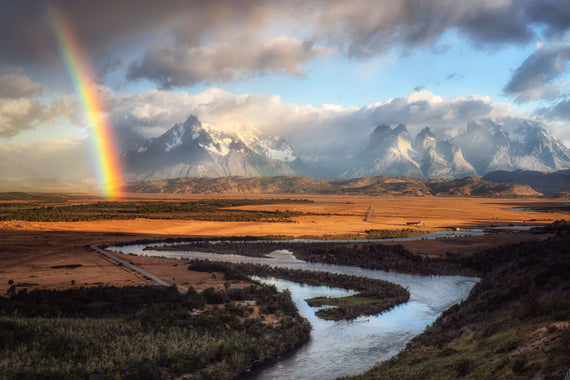 Rainbow over Torres Del Paine, Patagonia, Chile. Canvasing The World with Sean Diediker shows professional artist capturing images along the way.