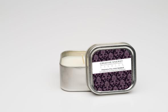 Creative Energy French Fig and Amber Soy Lotion Travel Tin Candle