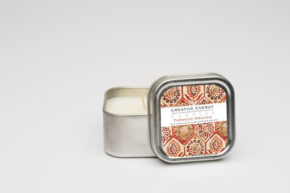 Creative Energy Tarocco Orange Soy Lotion Travel Tin Candle