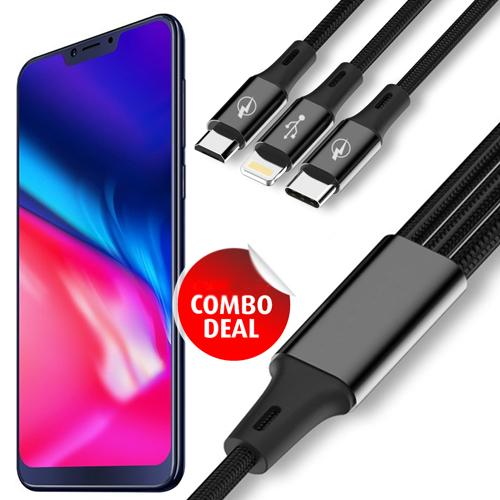 NextOne S7 Pro Notch 4GB/64GB RAM/ROM Smartphone + Star 3 in 1 Multi USB Charging Data Cable 1.2 Meter Long, 2.1 A Output, Charges 3 Phone at Same time