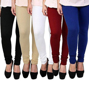 Women's 160 GSM Cotton Lycra Leggings Combo (Multicolour, Free Size) - Pack-5