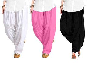 Women's Soft 100% Cotton Patiala Bottom Salwar Combo pack [black-white-pink]