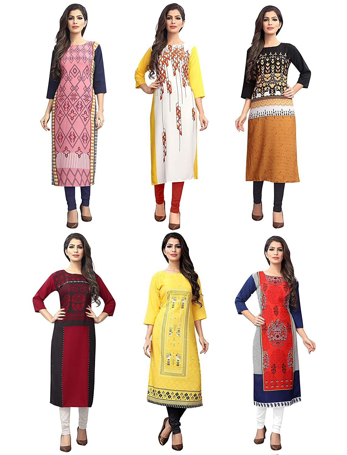 Fashion Women's Multi-Coloured Kurti Combo (Set of 6)