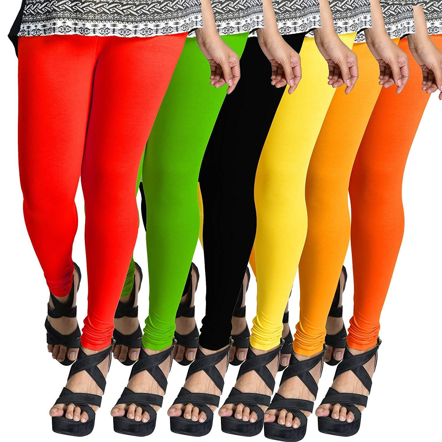Cotton Stretchable Leggings for Women- Combo Pack of 6 (Multicolour, Free Size)