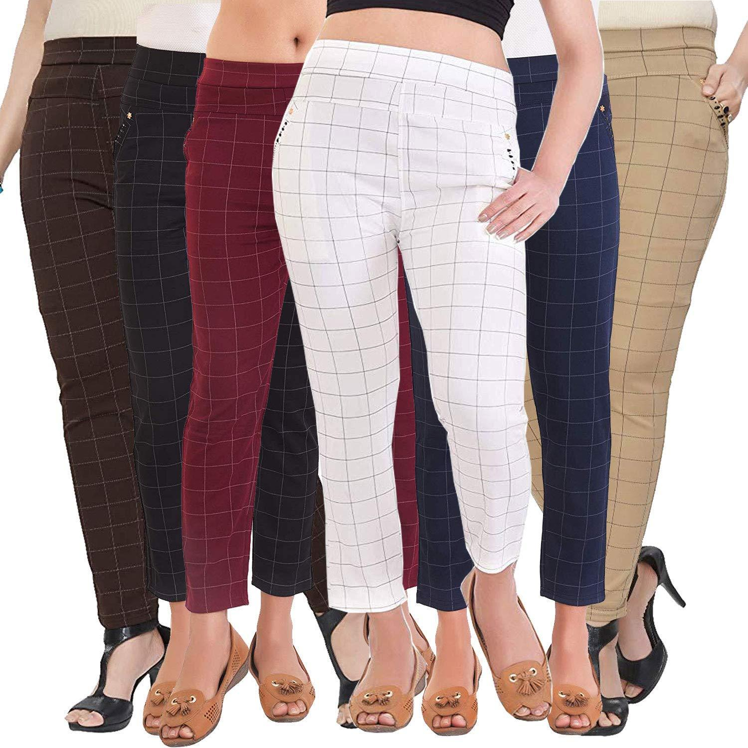 Women's/Girls/Ladies Spandex Check Pattern Pant/Jeggings Combo (Color as per Availability) (Pack of 2, Size-28-32)