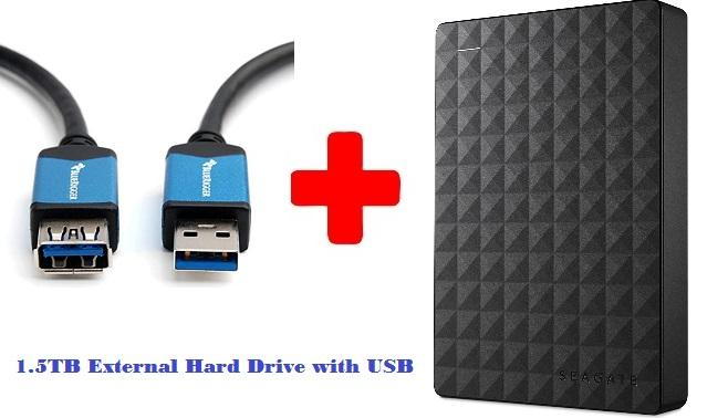 Portable 1.5TB External Hard Drive HDD – USB 3.0 for PC Laptop with USB Combo