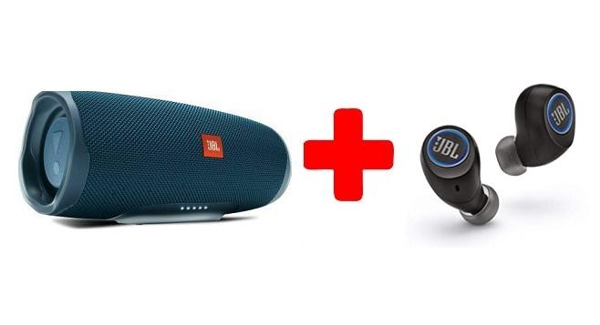 A JBL Charge 4 IPX7 with In-Built Powerbank Party Speaker and Earbuds Combo