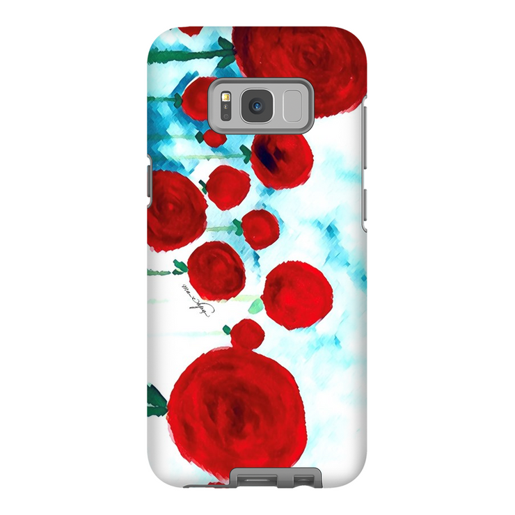 Phone Cases Abstract - Red Infused Flowers Landscape Left