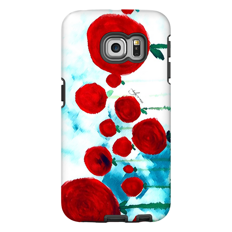 Phone Cases Abstract - Red Infusion of Flowers Landscape Right