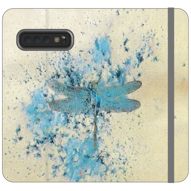 Phone Cases Wallet Dragonfly - Blue Mist