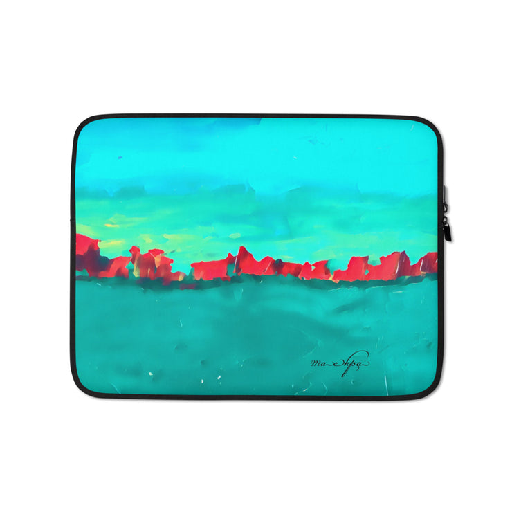 Laptop Sleeve Red Sky at Night - Teal on Teal