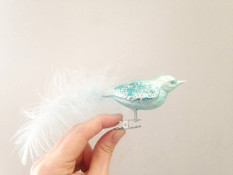 Mouth-blown Glass Bird Turquoise