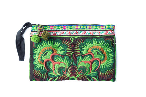 Embroidered Green Clutch Bag (Flowers)