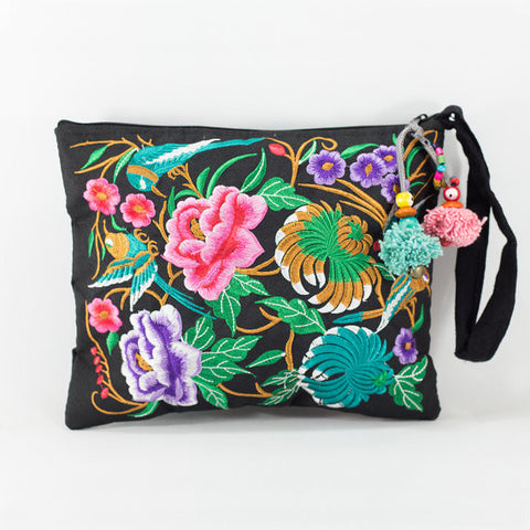 Embroidered Black Clutch Bag (Garden of Birds)