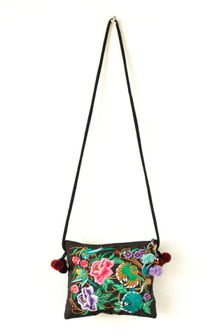 Embroidered Black Cross-Body Bag (Garden of Birds)