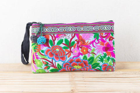 Embroidered Blue Clutch Bag (Rose Garden)