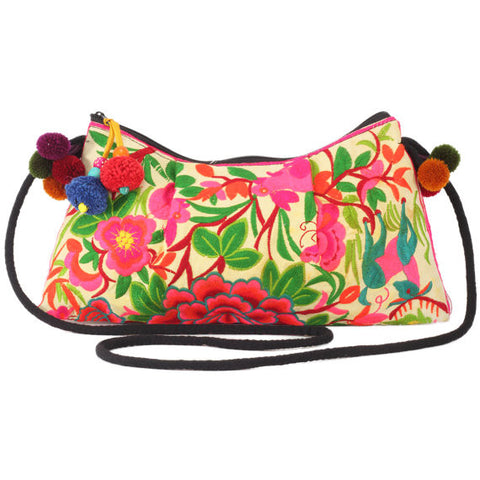 Embroidered Shoulder Bag Yellow (Exotic Garden)