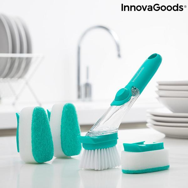 Home Houseware | Cleasy Scourer Brush With Handle and Soap Dispenser - LimitedRetail® Here Today; Gone Today. Get It, Whilst It's Still Here!