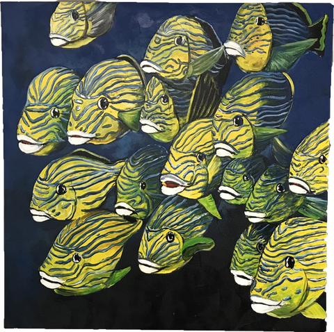 Art Work Yellow Striped Fishes