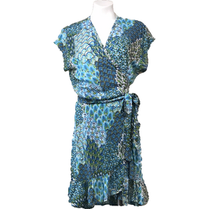 Ladies Short Wrap Dress - Peacock Blue