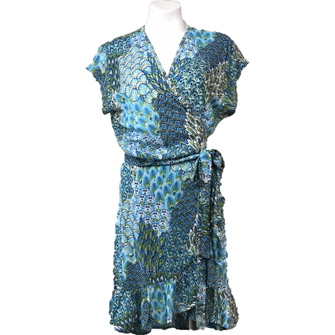 Ladies Short Wrap Dress - Peacock Green