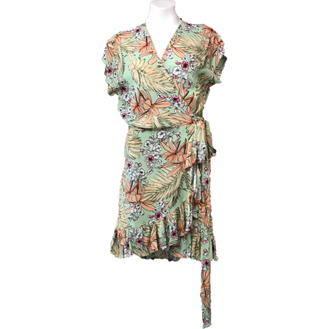Ladies Short Wrap Dress - Floral Lime