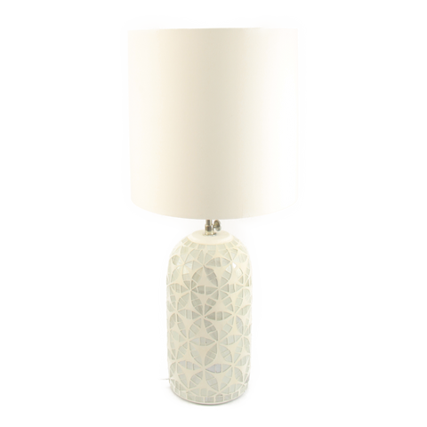 Table Lamp Glass Mosaic White Silver Grey