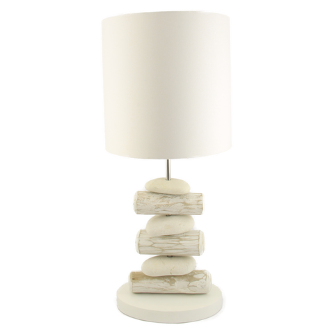 Table Lamp Pebble and Whitewashed Stick