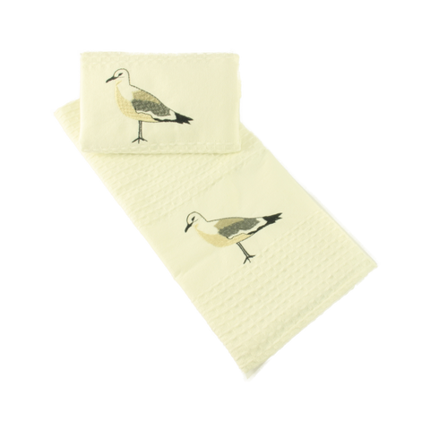 Tea Towel Waffle Weave Pack of  2 Seagull Motive