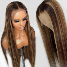 Load image into Gallery viewer, 4/27 Ombré Highlight Perruque Lace Frontal Wig Lisses Brésilien Cheveux Humains