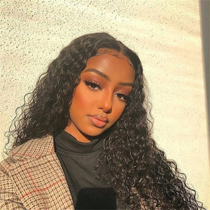Perruque Lace Frontal Wigs Water Wave Ondulé Cheveux Humains Naturels  150%