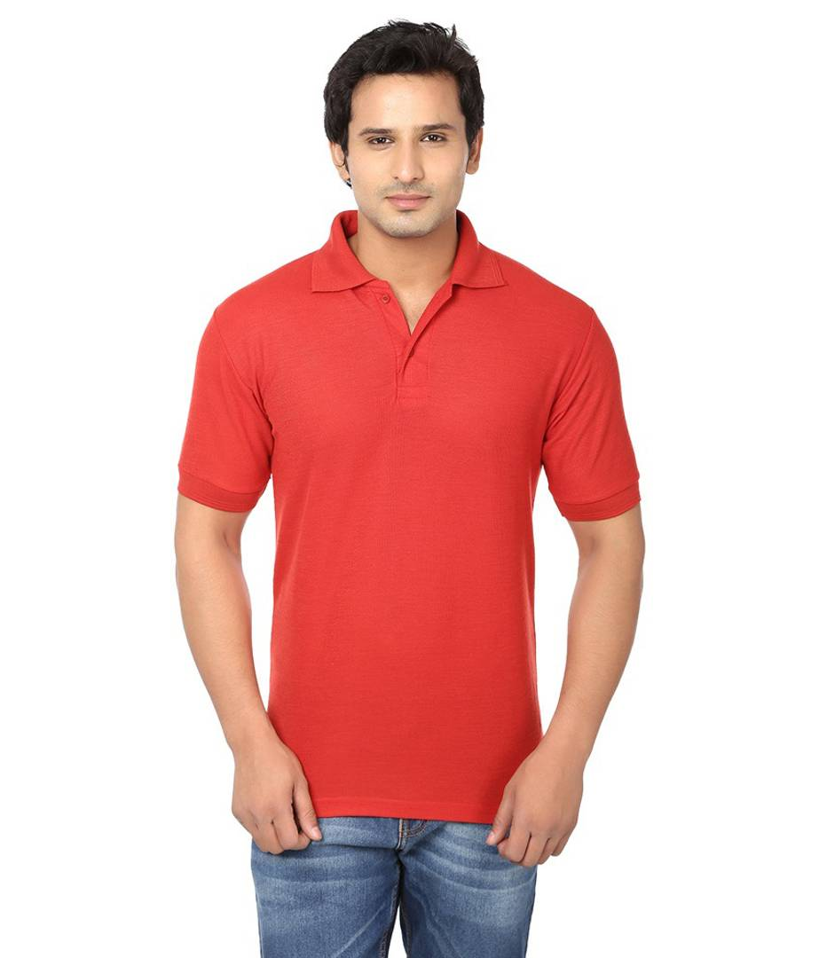 Men Red Cotton Blend Half Sleeves Polos T-Shirt