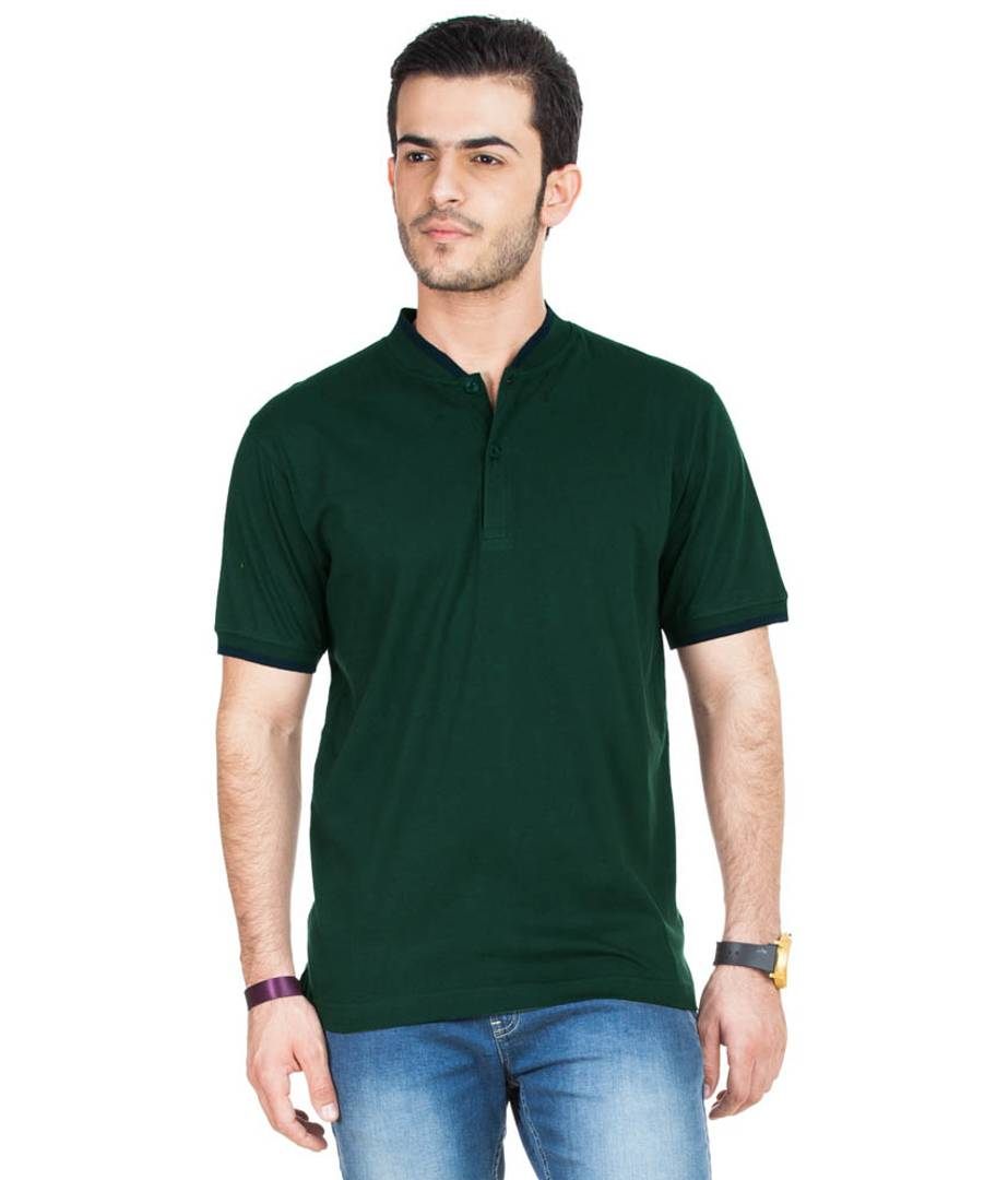 Men Green Cotton Blend Half Sleeves Polos T-Shirt